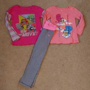 5t Girls character tees and pants outfits